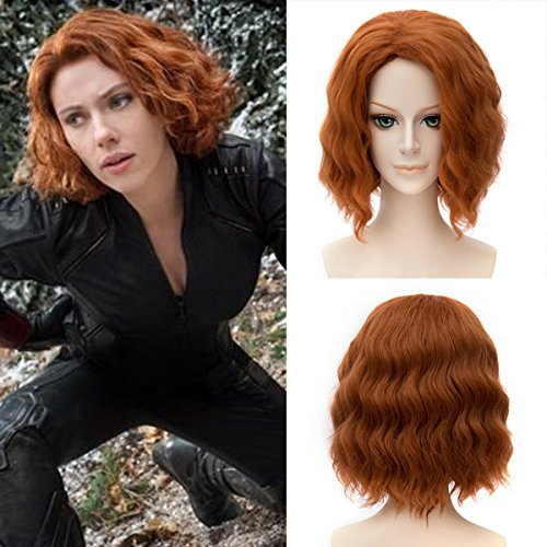 [Xcoser Avengers Cosplay Black Widow Wig Womens for Halloween] (Halloween Costumes Black Wig)