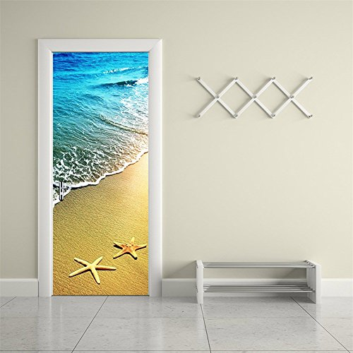 CaseFan 3d Door Wallpaper Murals Wall Stickers--Starfish and Waves for Home Decoration Self-adhesive Vinyl Removable Retro Art Door Decals 30.3x78.7