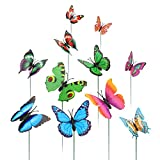 Lewondr Butterfly Garden Stake, [50 Pieces] Decorative Butterfly Stakes for Planter Flowerpot Garden Ornaments Patio Outdoor Yard Christmas Décor Supplies, Colorful