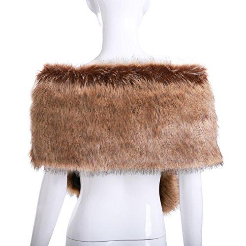Review Women Long Faux Fox Fur Shawl Bridal Stole Cover Up Winter Soft Bolero Scarf Raccoon