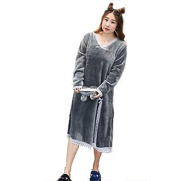 Batas de Lana para Mujer Bata de Felpa Suave Suave para Mujer Bata de baño Pijama