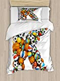 Letter K Twin Size Duvet Cover Set by Ambesonne, Alphabet Letter with Gaming Balls of Popular Sports Fun Initial Monogram Design, Decorative 2 Piece Bedding Set with 1 Pillow Sham, Multicolor