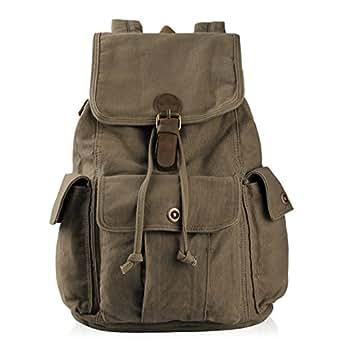 Hynes Eagle Retro Designer Canvas Backpack 26L Army Green
