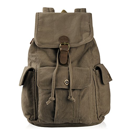 Hynes Eagle Retro Designer Canvas Backpack 26L Army Green