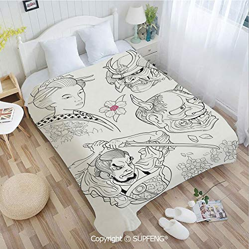 (Plush Blanket Samurai Warrior Japanese Woman Portrait Drawings Sakura Blooms Decorative(W31.5xL47.3 inch ) Easy Care Machine Wash for Bedroom/Living Room/Camping etc)