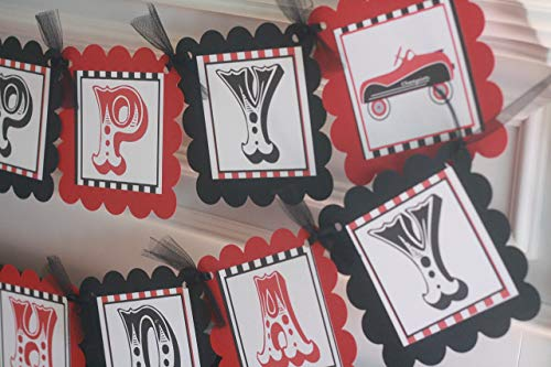 - Red Black Vintage Race Car, Tricycle, Jack in the Box, Rocking Horse, Train, Wagon, Happy Birthday Theme Banner - Party Packages and Matching Items Available