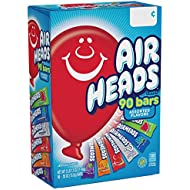 AirHeads Bars, Chewy Fruit Candy, Variety Pack, Party, Halloween, 90 Count (Packaging May Vary)