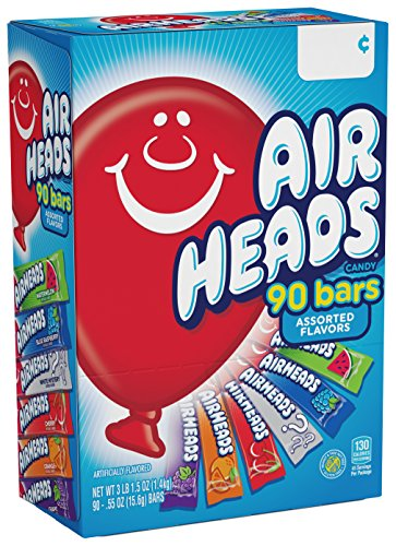Airheads Bars, Chewy Fruit Taffy Candy, Variety Pack, Back to School for Kids, Non Melting, Party 90 Count (Packaging May Vary)]()