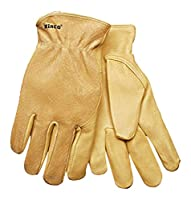 KINCO 94WA-M Men's Unlined Grain Pigskin Leather Glove, Wrap Around Index Finger, Medium, Golden