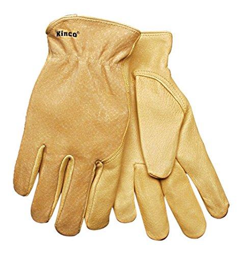 Grain Pigskin (KINCO 94WA-M Men's Unlined Grain Pigskin Leather Glove, Wrap Around Index Finger, Medium, Golden)