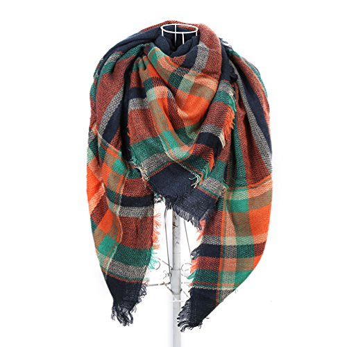 Women's Long Soft Plaid Scarf Winter Large Blanket Wrap Shawl Orange 55 By 55 In (Wool Orange Large Sized)