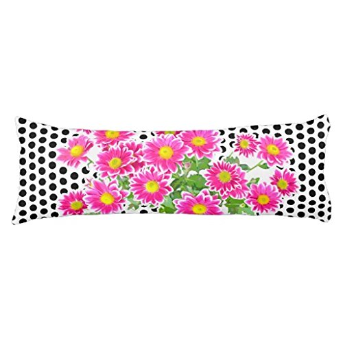 Yohoba Pink Daisies Asters Bouquet Your ideas Cotton linen Body Pillowcase Pillow Cover With Double Sided 20