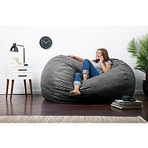 Big Joe Lux XL Fuf Foam Filled Bean Bag Chair, Union, Grey