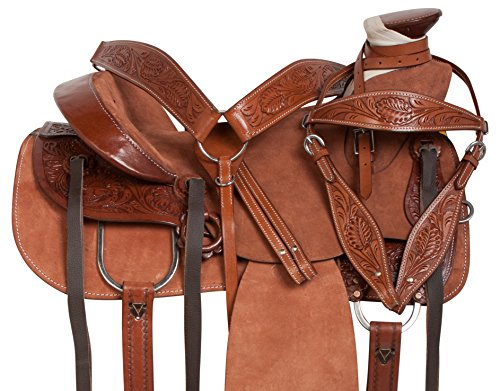 "17"" WADE TREE ROPING WESTERN RANCH WORK RODEO ROUGH OUT HORSE SADDLE TACK SET HAND TOOLED (16) (Tooled Tack)"