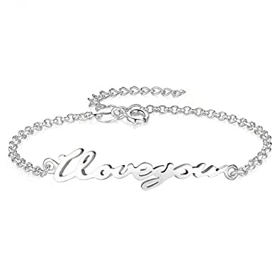 b29b97e301197 Sterling Silver Personalized Name Bracelet and Anklet Charm for Women Girls  Custom Made with Any Names