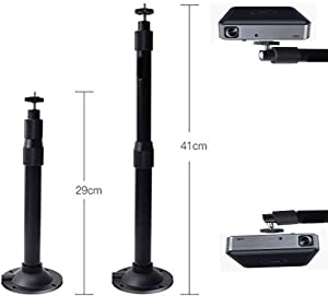 Hzgang Wall Ceiling Mount Hanger 360°Rotatable Head with Extendable Length 11.4 Inch to 16.1 Inch / 11 lbs Load Mounting Bracket for Projector Camera (Black)