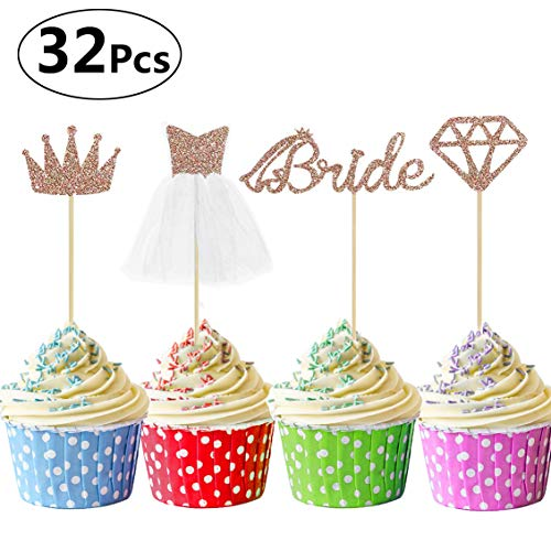 Sandeye 32 Pcs Rose Gold Glitter Bride To Be Cupcake Toppers with Diamond,Crown,Bride,3D Wedding Dress Cupcake Toppers for Bridal Shower Supplies, Wedding Engagement, Bachelorette Party Decorations