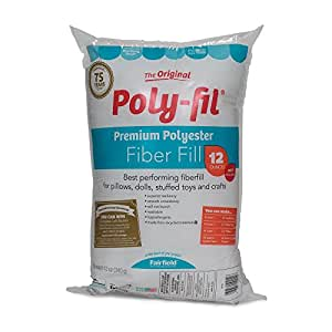 Fairfield Poly-Fil Premium Polyester Fiber, White, 1 Bag, 12oz