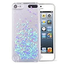 Touch 5 Case,iPod Touch 6 Case,LEECOCO Creative 3D Love Hearts Floating Quicksand Shiny Bling Glitter Flowing Liquid Transparent Clear Hard PC Protective Case for iPod Touch 5 / 6 [Love] Blue