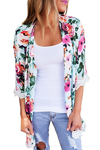 PRETTODAY Women's Floral Print Kimono Lace Loose Tops Sleeves Cover Up Chiffon Blouse (XL, Mint) ()
