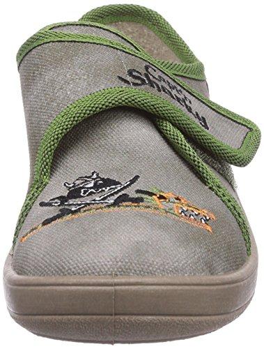 Captn Sharky 230223 - pantuflas con forro de lona niño gris - Grau (Schilf)