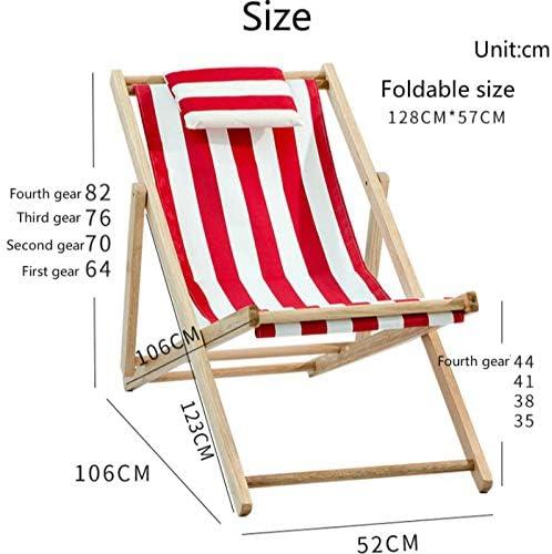 POL Pliable Léger Chaise Extérieure Portable Chaise De Plage En Bois Avec Accoudoir Loisirs Chaise Longue Balcon Jardin Chaise En Toile Comme illustré D2