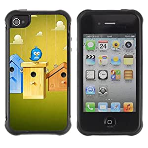 CAZZ Rugged Armor Slim Protection Case Cover Shell // Cute Blue Bird // Apple Iphone 4 / 4S