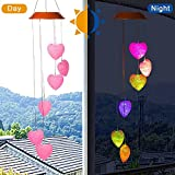 Amazing Wind Chime,Color Changing Pink Heart Solar Wind Mobile Chimes Lights Hanging Wind Bell Light Night Hanging lamp for Patio Garden Lighting Home Decoration with Spinning Hook