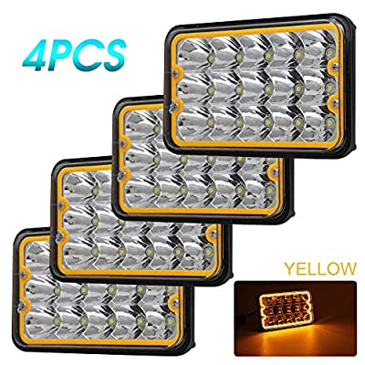 CO LIGHT 4pcs 4x6 inch LED Headlights Yellow Halo Dot approved Rectangular Replacement H4651 H4652 H4656 H4666 H6545 for Peterbil Kenworth Freightinger Ford Probe Chevrolet Oldsmobile Cutlass: Automotive
