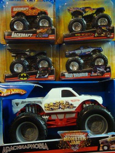 Hot Wheels Durable Diecast Monster Jam Arachnaphobia 1/24 With Backdraft War Wizard Batman Blue Thunder - Truck War Wizard Monster