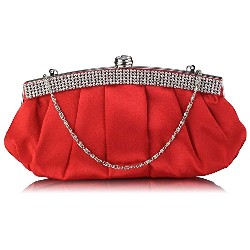 L And S Handbags Diamante Evening Clutch Bag With Chain - Cartera de mano para mujer Red