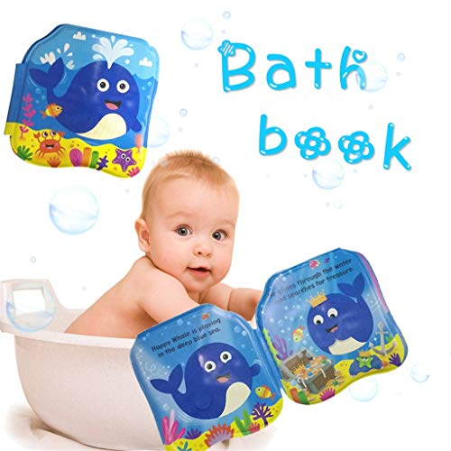 (Baby Children's Bath Book, Tearing Waterproof PVC, Educational Toys, Children's Teaching aids, Children's Educational Baby Bath Toys, 4PCS (Whale))
