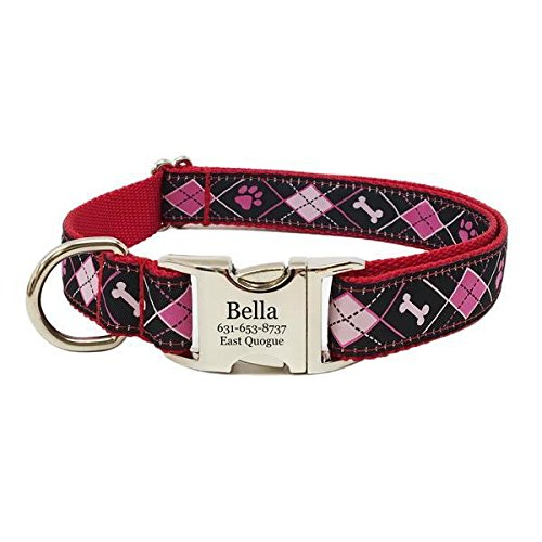 Rita Bean Engraved Buckle Personalized Dog Collar - Pink & Black Argyle (Small)