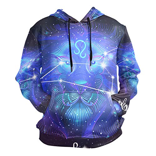 Constellation Zodiac Sign Leo Men's Pullover Hooded Sweatshirt