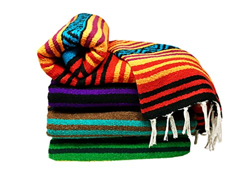 Bodhi Blanket Mexican Style Throw Blanket - Falsa Blanket for Yoga, Picnics, Beach, Tapestry, Camping, More (Spirit Voices: Orange, Red, Purple, Black, Blue)