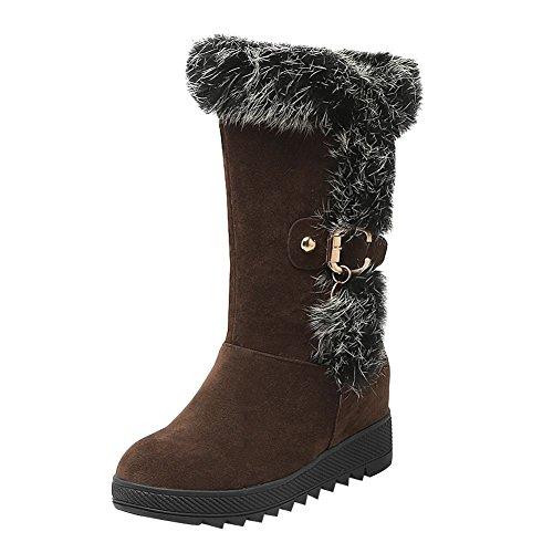 Show Shine Womens Casual Platform Hidden Heel Mid Calf Boots Dark Brown su4Zb