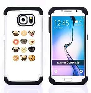 For Samsung Galaxy S6 G9200 - pug puppy cookie cute white pattern Dual Layer caso de Shell HUELGA Impacto pata de cabra con im????genes gr????ficas Steam - Funny Shop -