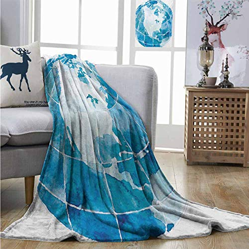 Lightweight Blanket Map Hand Drawn Watercolor Style Globe Sphere with North America Continent Paint Effect Soft Blanket Microfiber W40 xL60 Blue White