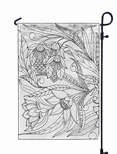 Shorping Thanksgiving Garden Flag, 12x18Inch for Holiday and Seasonal Double-Sided Printing Yards Flags Coloring Page with Vintage Flowers Pattern