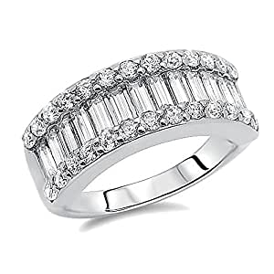 Amazon.com: Rhodium Plated Sterling Silver Wedding Ring