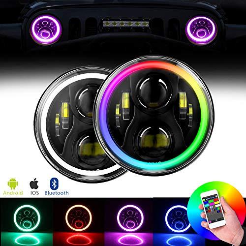 LED Headlights for Jeep RGB Halo Angel Eye,60W 7