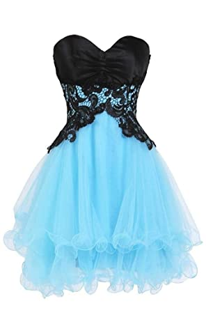 Blevla Sweetheart Tulle Short Prom Dress Cocktail Party Homecoming Gown Blue US 2