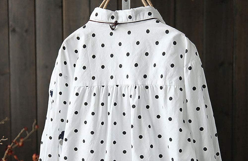 Luckycat Las señoras de Las Mujeres de Manga Larga de impresión Blusa Suelta Pullover Button Tops Camisa: Amazon.es: Ropa y accesorios