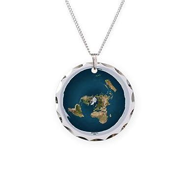 2ffeba2b54583 Amazon.com: CafePress - Flat Earth 1 - Charm Necklace with Round ...