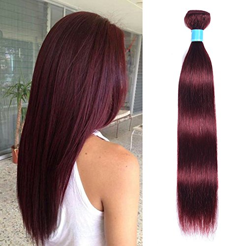(Mother's Day Gifts Grade 8A Brazilian Straight Hair 99j Wine Red Silky Straight Virgin Human Hair Weaves Extensions One Bundle Deals Pure Burgundy Color(10