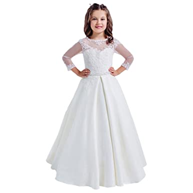 Amazon.com: Lace Long Sleeves Hollow Back First Communion Dresses ...