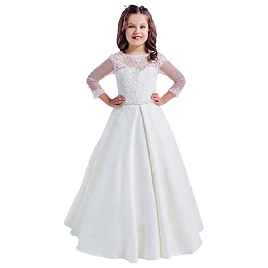 50d306991 Lace Long Sleeves Hollow Back First Communion Dresses 2-12 Year Old White  Size 2
