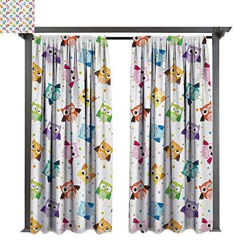 bybyhome Outdoor Waterproof Curtain Nursery Dotted Background Colorful Owls Various Facial Expressions Angry Happy Confused W108 xL84 Suitable for Front Porch,pergola,Cabana,Covered Patio