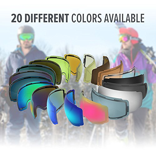 OutdoorMaster Ski Goggles PRO Frameless, Interchangeable Lens 100% UV400 Protection Snow Goggles for Men & Women