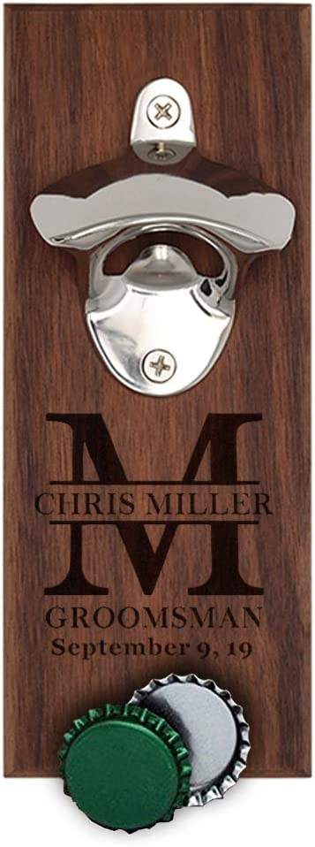 Personalized Wooden Wall Mount Bottle Opener Magnetic Cap Catcher - Custom Engraved Wedding Groomsmen Gift for Husband Men Boyfriend Walnut